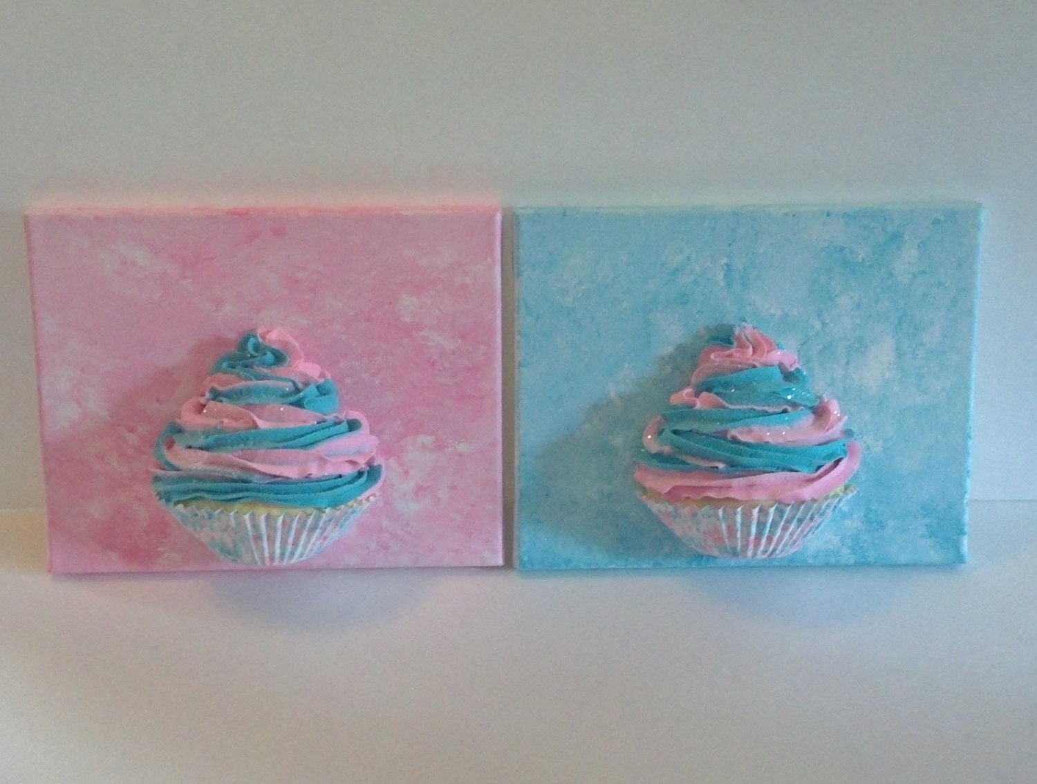 Fake cupcakes on canvas 8x10 cupcake wall by for Cupcake wall art