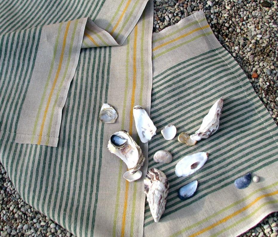 Emerald Jazzy Linen Flax Beach Towel