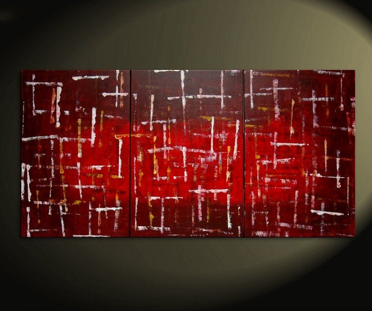72x36 Large Custom Version Bold Red Modern Abstract Original Textured Painting HUGE Urban Art