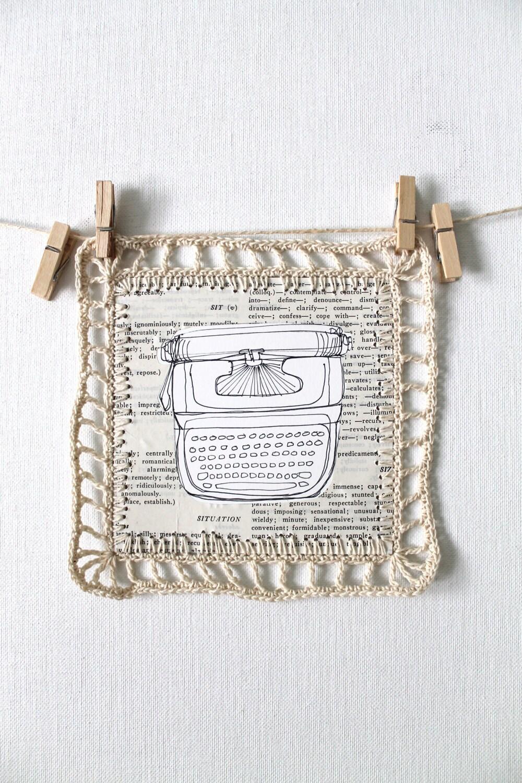Оригинальный рисунок тушью пером вязания коллаж искусство рисования на бумаге нейтральные ретро Vintage пишущая машинка