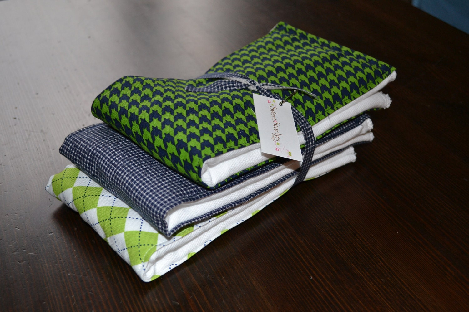 Baby Boy Burp Cloths - Boutique Boy Burp Cloth Set - Blue and Green- Sweet Little Lad - Ready to Ship