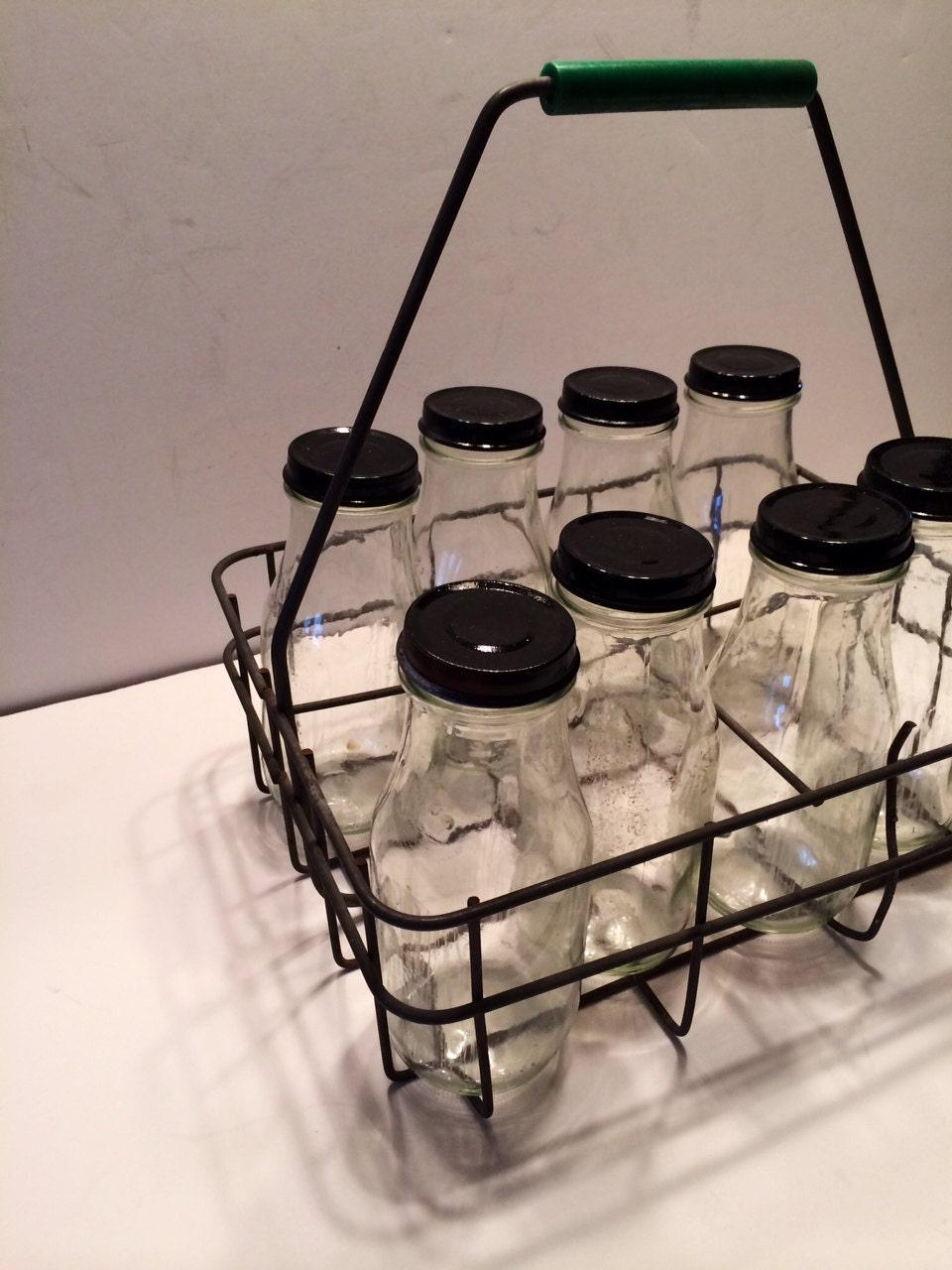 vintage wire milk bottle carrier with modern glass by. Black Bedroom Furniture Sets. Home Design Ideas