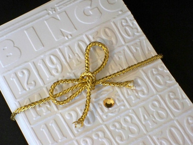 Bingo Stationery Gift Set, White Embossed Notecards, Bing Cards, Greeting Cards - Gift Bag - AuriesDesigns