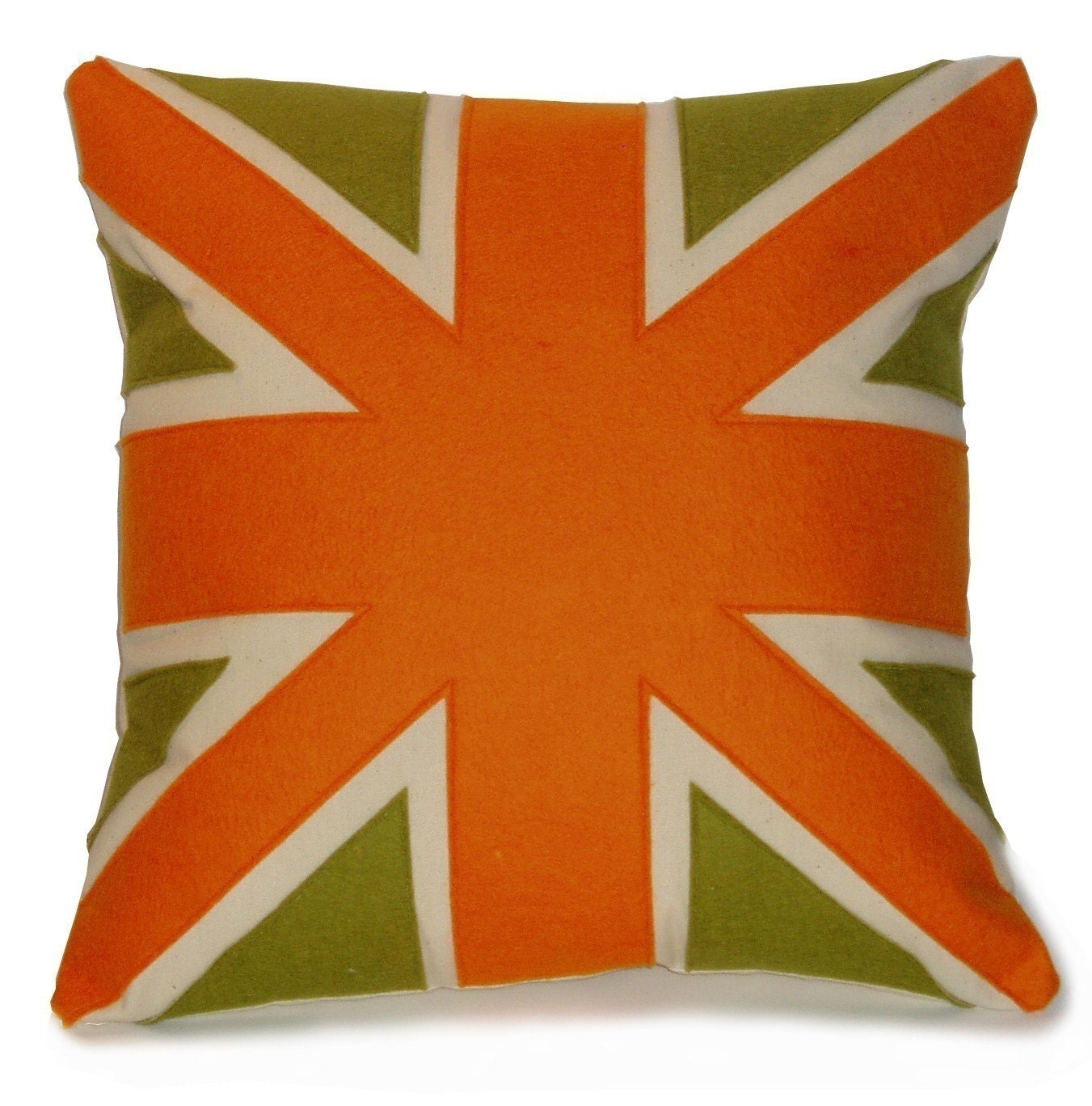 orange and green UNION JACK CUSHION/PILLOW