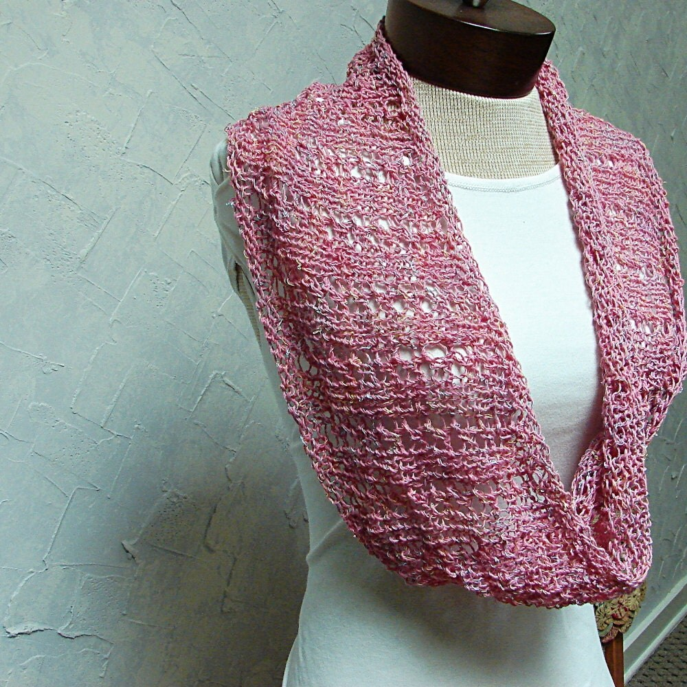 Knitting Pattern Lace Infinity Scarf : Pattern for Lace Cowl Infinity Scarf Handknit by ...