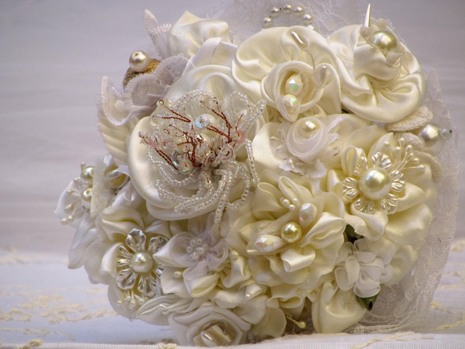 BRIDAL BOUQUET Cream And White Satin Beaded Handmade Flowers