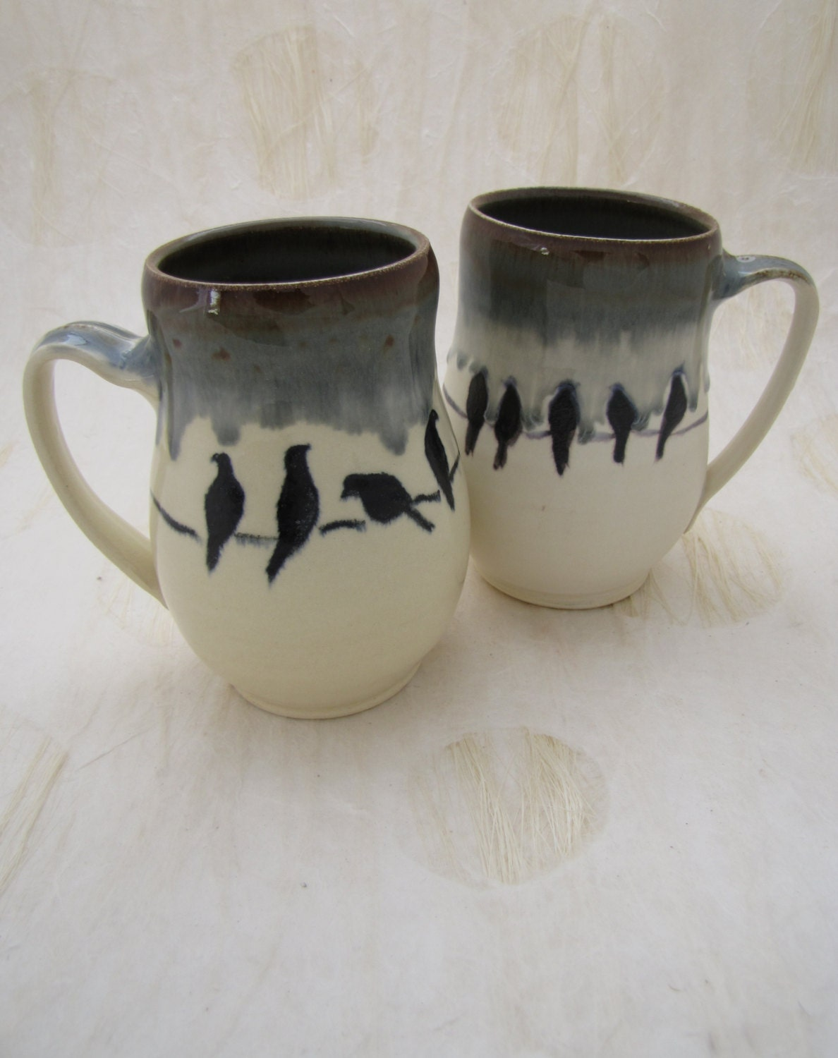 Custom Order Birds on a Wire  Polka Dot Red Turquoise Floral Belly Mug Muddy Paws Pottery