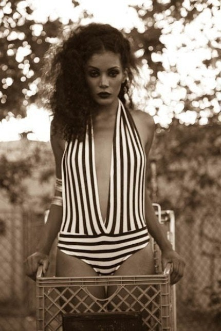 Vintage Inspired Black/White One Piece Bodysuit by kamishade from etsy.com