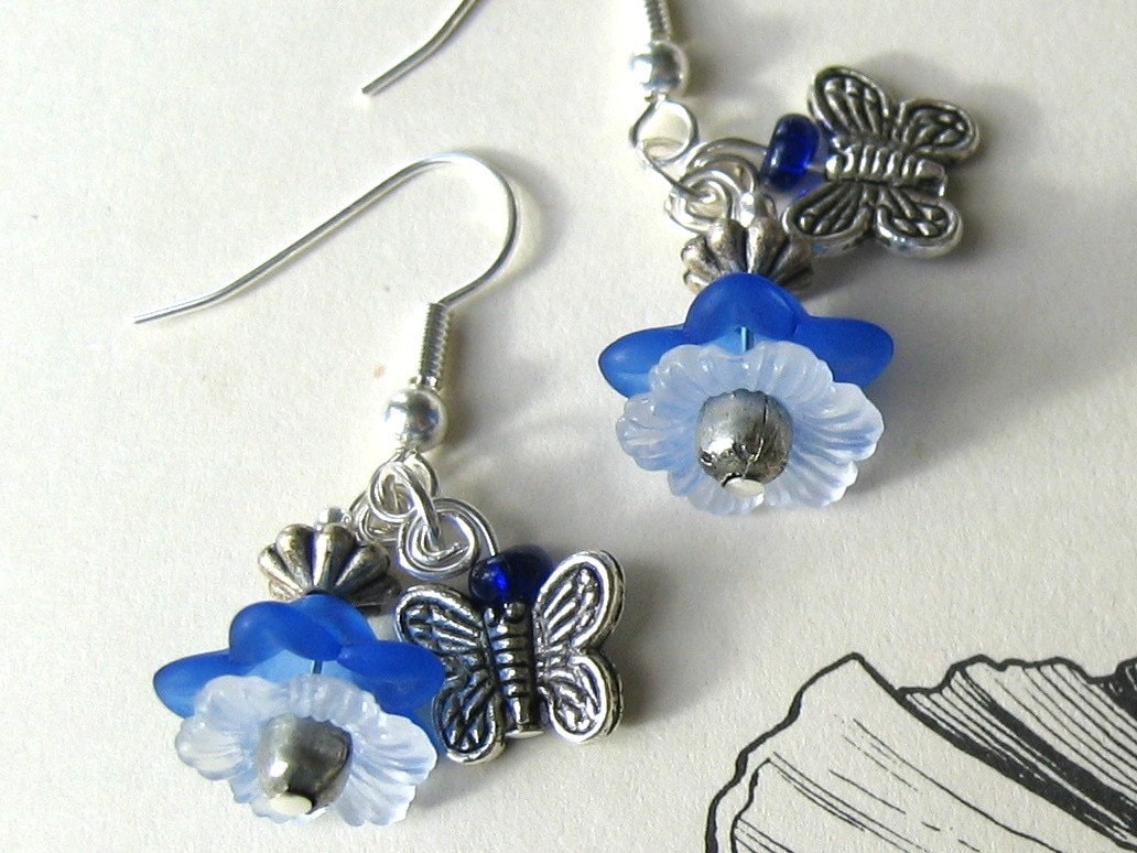Blue Lace Butterfly Earrings
