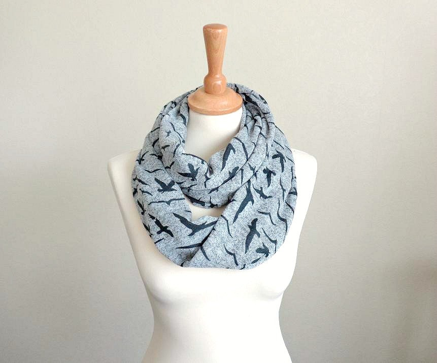 Birds jersey Infinity scarf infinite eternity scarf snood neckwarmer gray spring summer modern stylish trendy neck accessory bird silhouette - EvergreenGarden