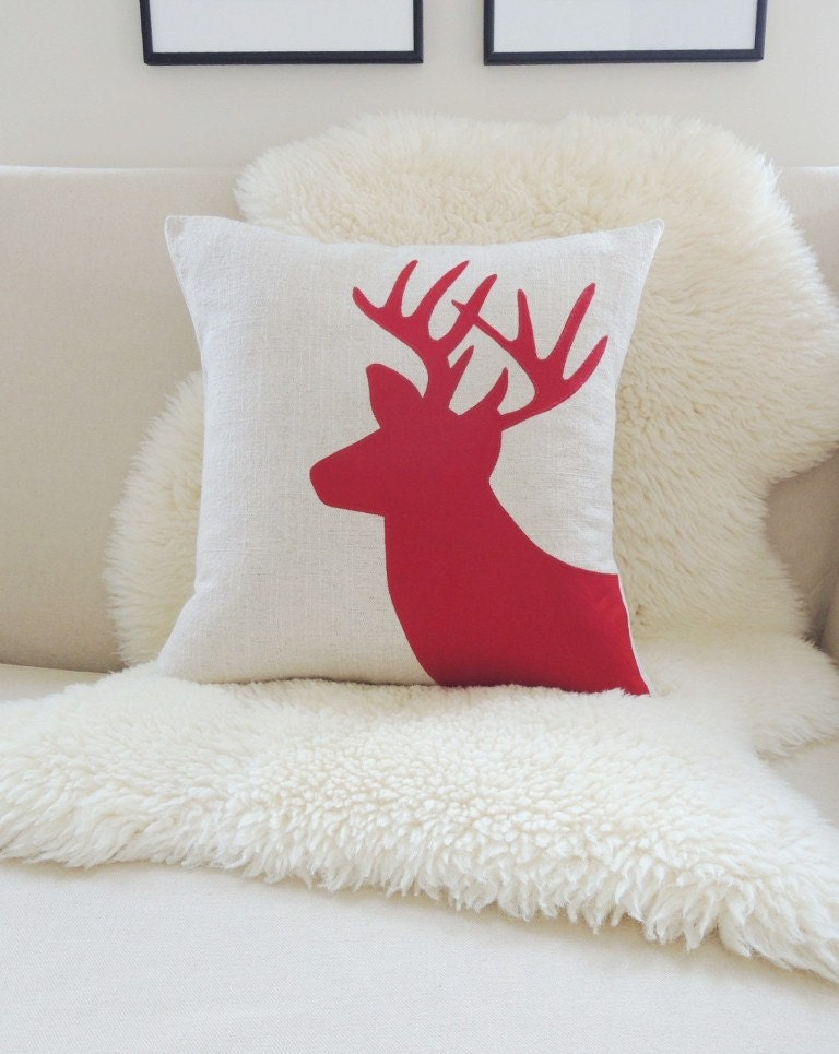 Holiday Deer Pillow Cover, Christmas Red Stag Antlers Appliqué Silhouette - Pick A Color - Woodland Decor, Rustic Modern - 18x18 - VixenGoods