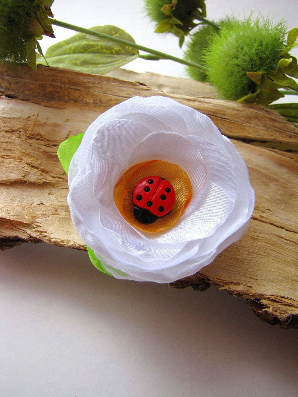 Ponytail держатель ручной работы цветок ткань (1шт) - большой белый DAISY
