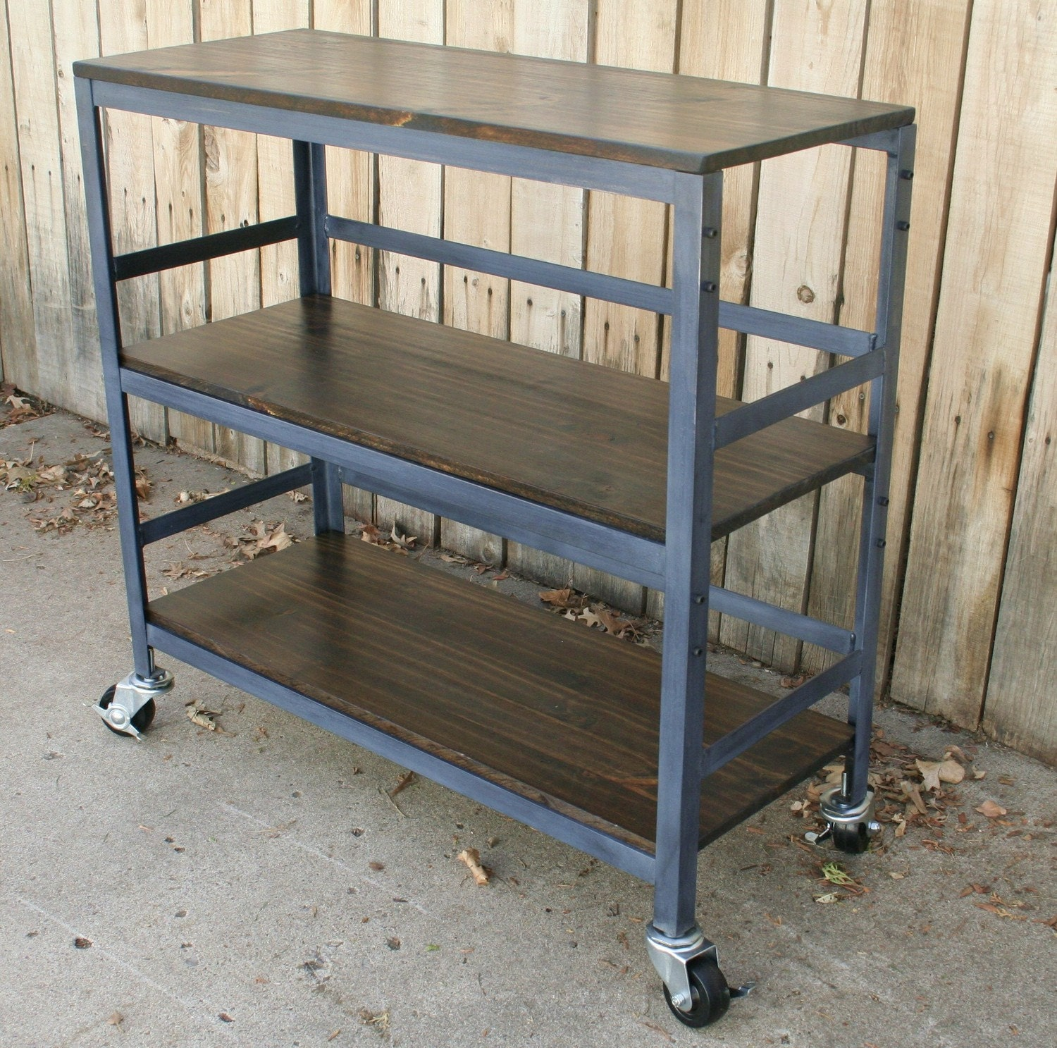 Items Similar To Handmade Rolling Metal And Wood Table Kitchen Cart Book Shelf Wine Liquor