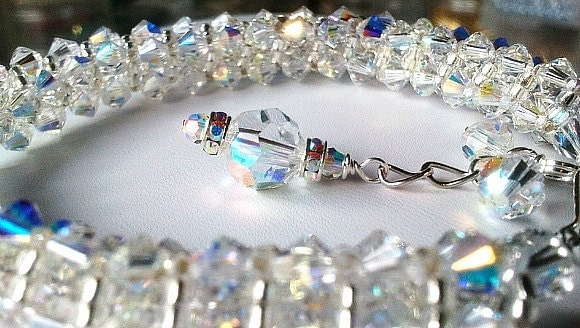 Beaded Clear Crystal Shine Bracelet - Valentines Special Gift, Wedding Gift