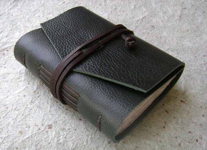 Mini  Leather Journal, Forest Green, rustic journal by Dancing Grey Studio on Etsy - DancingGreyStudio