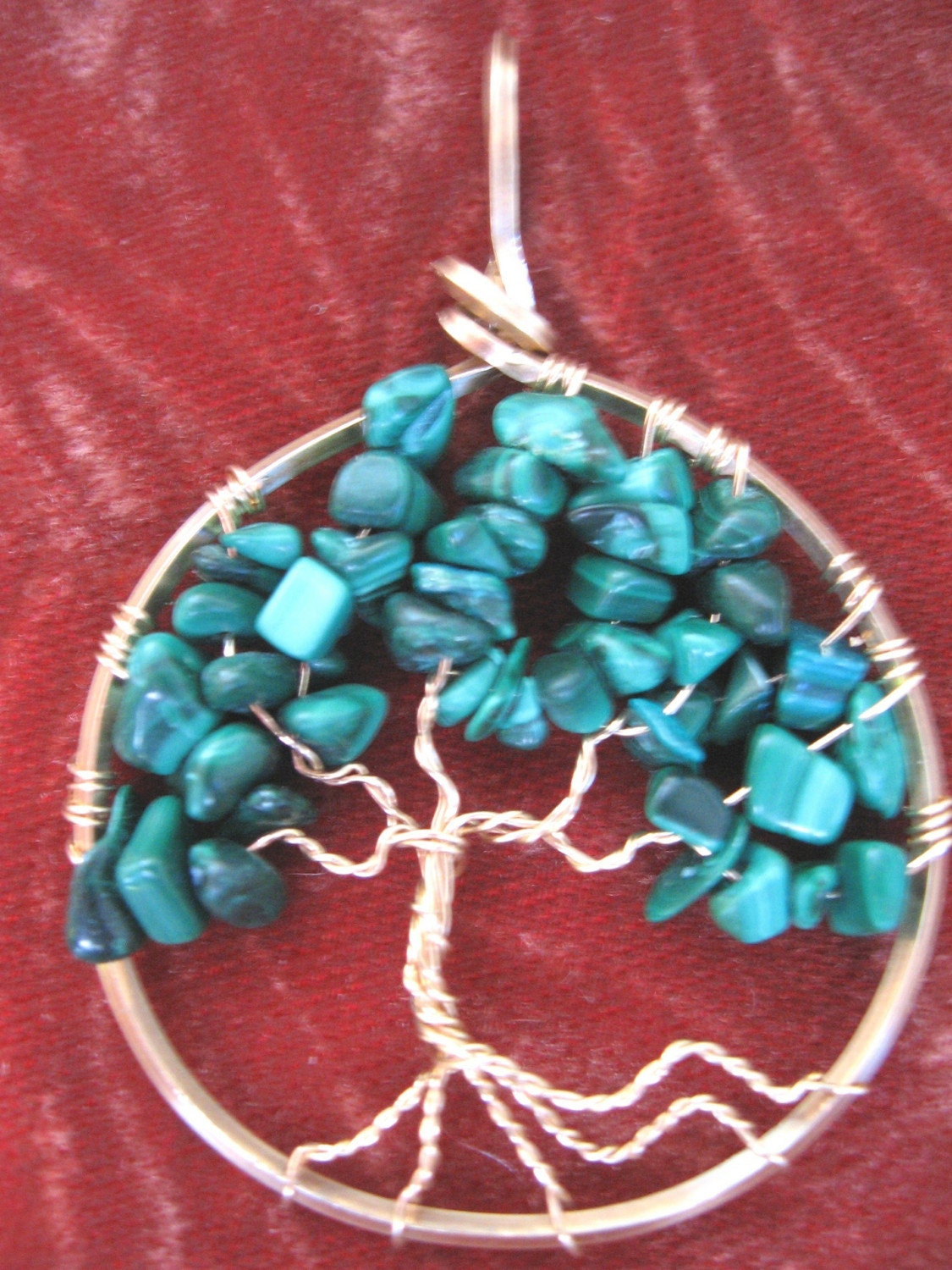 DELICATE MALACHITE TREE OF LIFE OR PROSPERITY TREE PENDANT