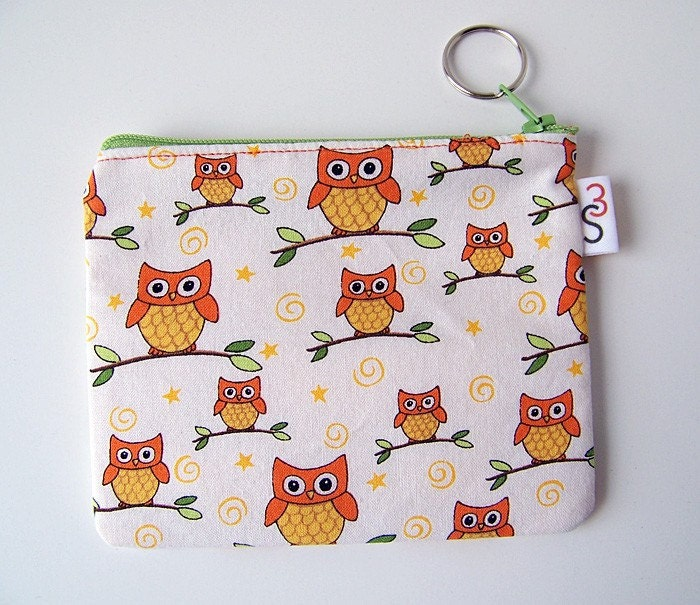 Moda Owl Print Zippered Pouch by SwingStationStudio on Etsy