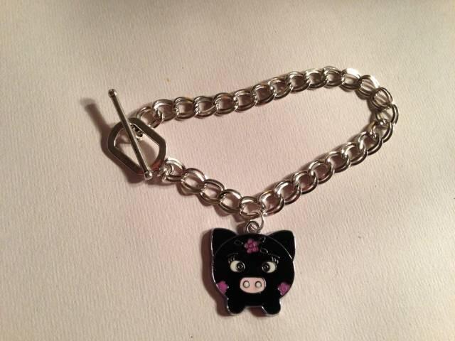 charm bracelet silver jewelry black pig charm jewellery by