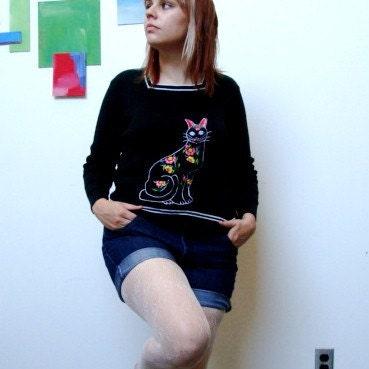 SALE Vintage Pussy Cat Grandma Sweater Size L