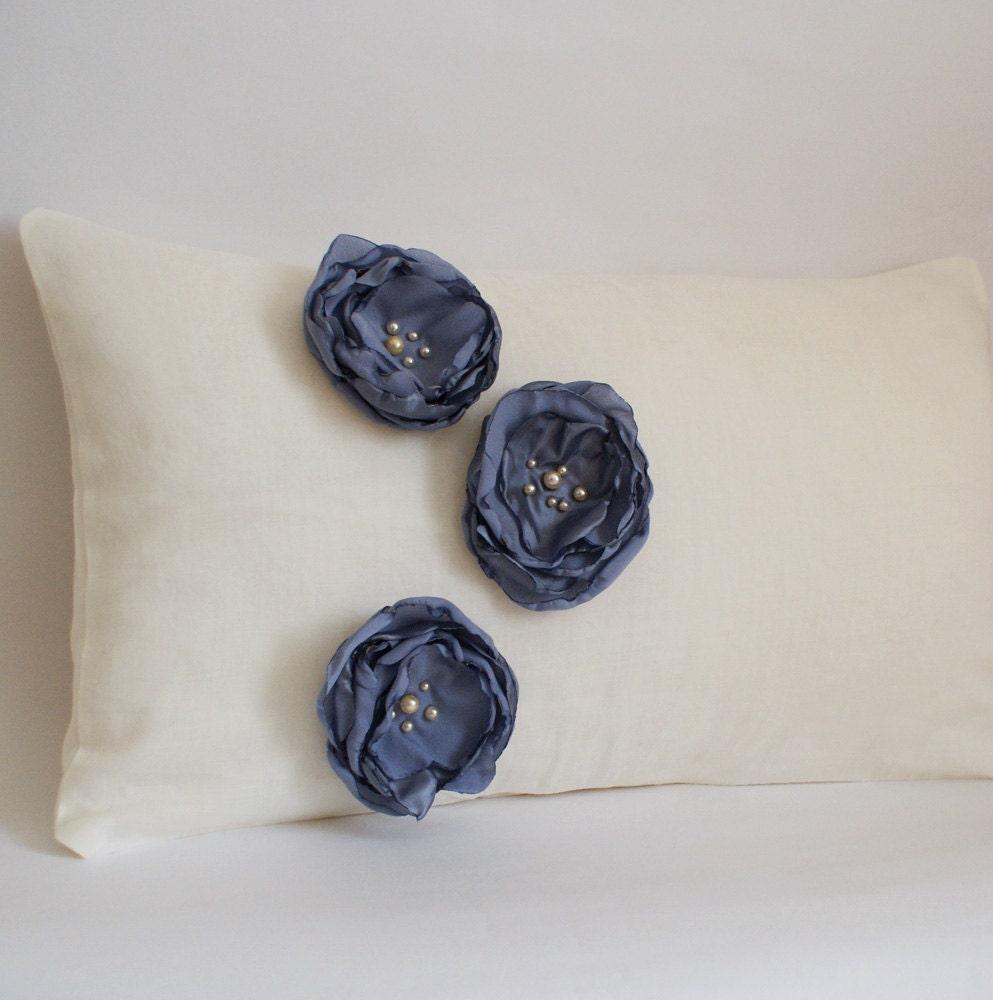 Ткань Цветок Чехол в Лен Крем и барвинок синий