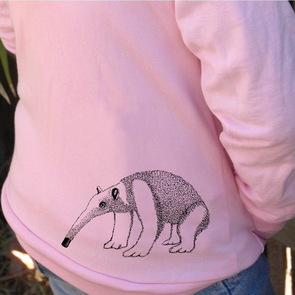 anteater hoodie for kids and baby - hand silk screened original from circles and squares