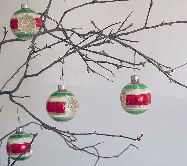 4 Vintage Shiny Brite Double Indent Ornaments