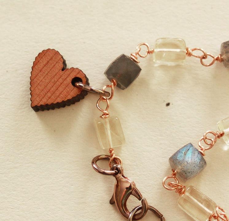OOAK Wood Heart Bracelet * Labradorite, Citrine, Copper and Wood * Hiker Gift * i carry your heart - ScrapsandPaper