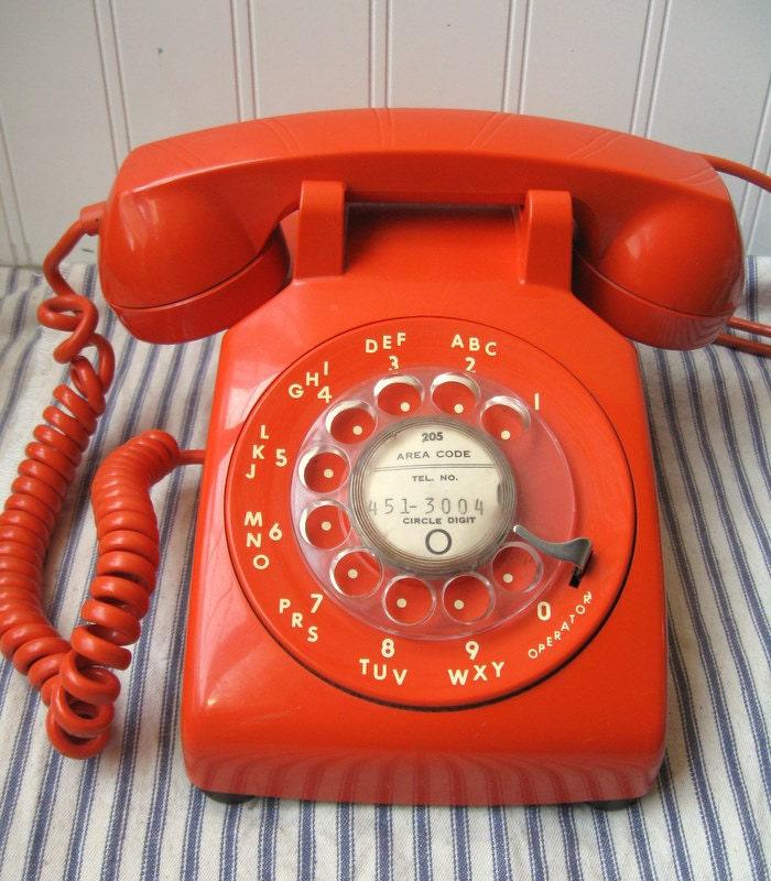 vintage orange telephone 1970s itt rotary phone by hopeandjoyhome. Black Bedroom Furniture Sets. Home Design Ideas