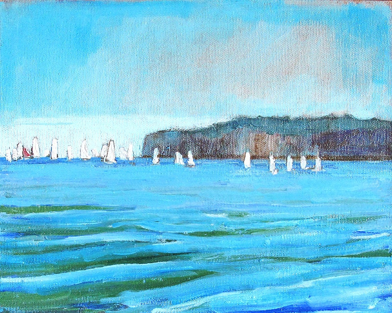 San Clemente California Sailboats off Dana Point Seascape Painting by Kevin Inman Art