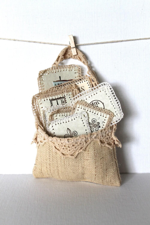 Paris Scrapbooking Supplies Crochet Paper Labels Vintage Victorian Burlap Pouch Handmade