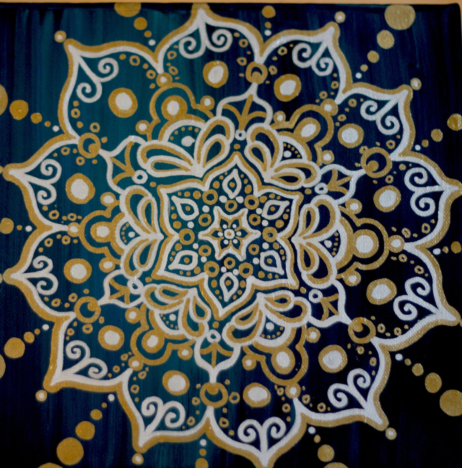 Intricate Design On Gold And Blue Painting