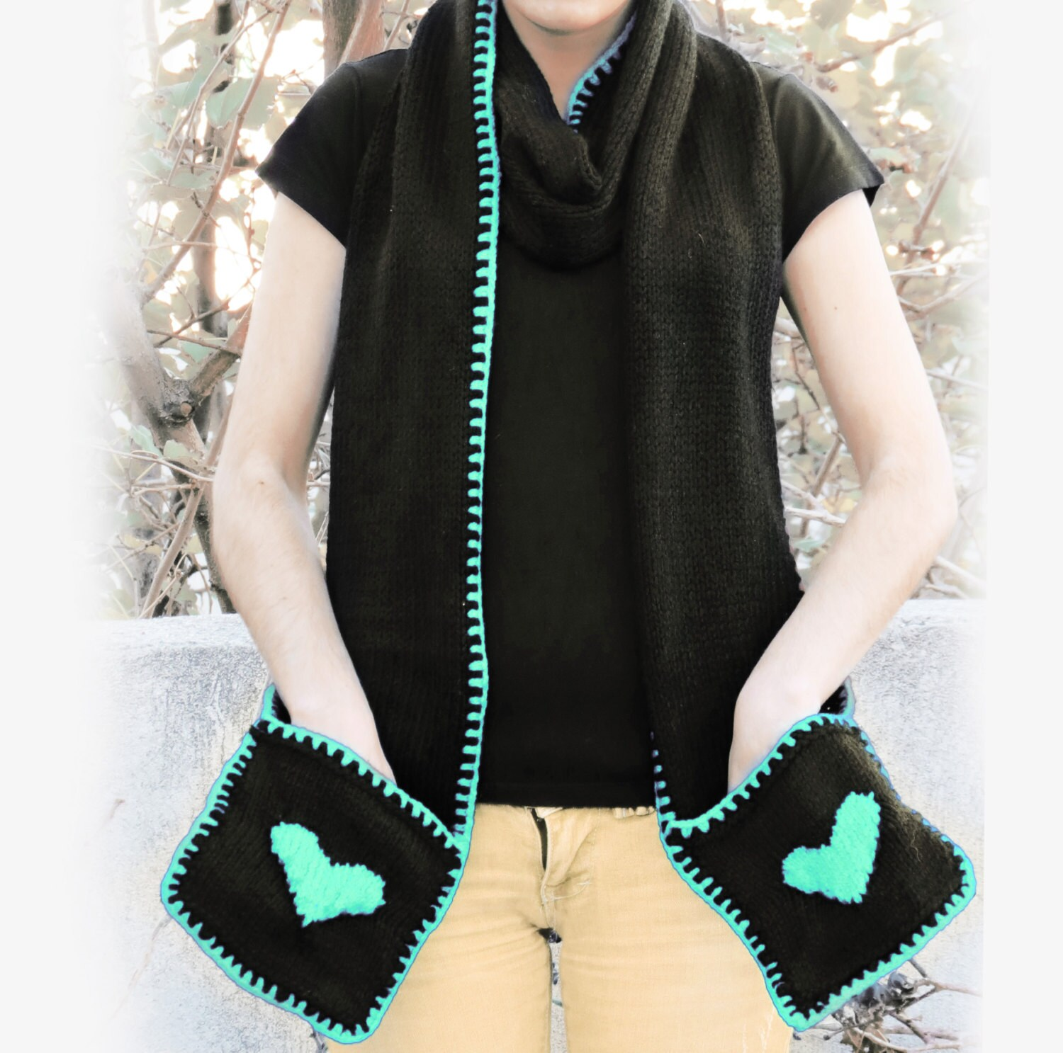 Knitting Pattern For A Scarf With Pockets : Items similar to Knitted Yellow Heart Scarf with Pockets - SCARVES - Heart Ac...