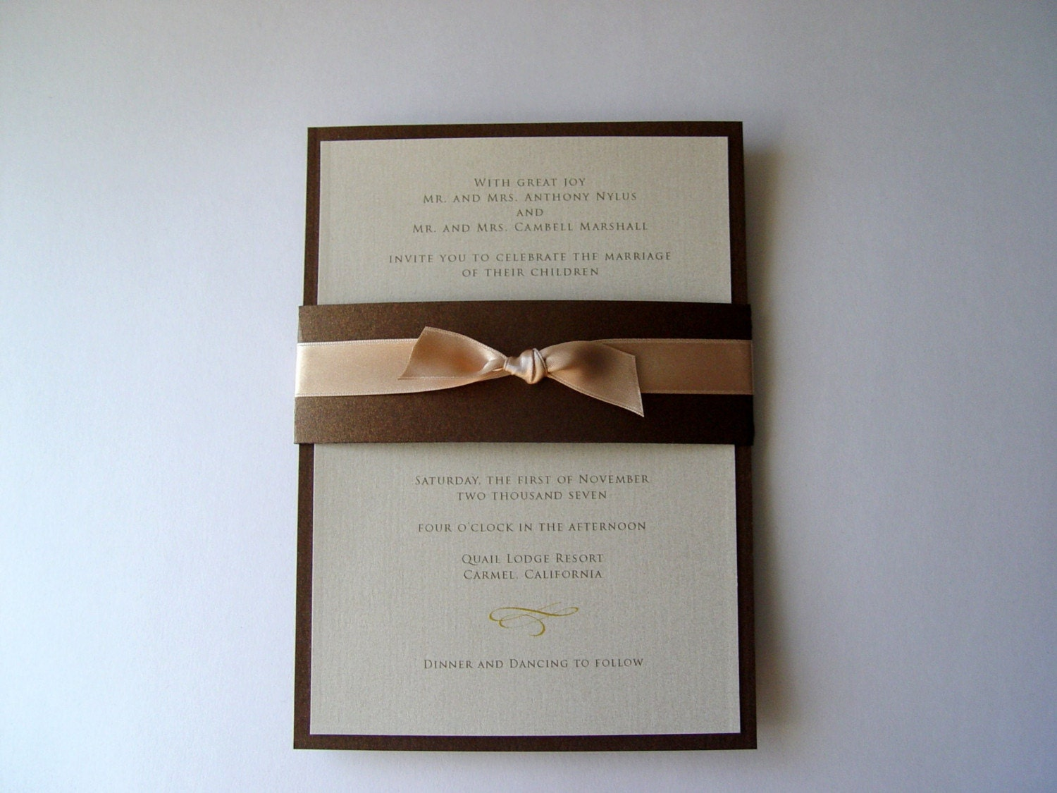 Bronze and champagne Shimmer Invitation Set of 50