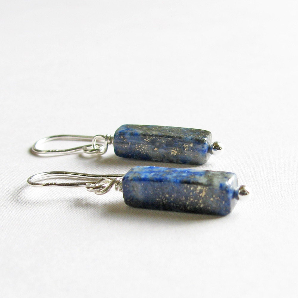 Lapis Earrings, Blue Gemstone Earrings, Sterling Silver - Dark Blue Dangles, Denim Blue, Petite Earrings, Small Earrings - SheBearDesigns