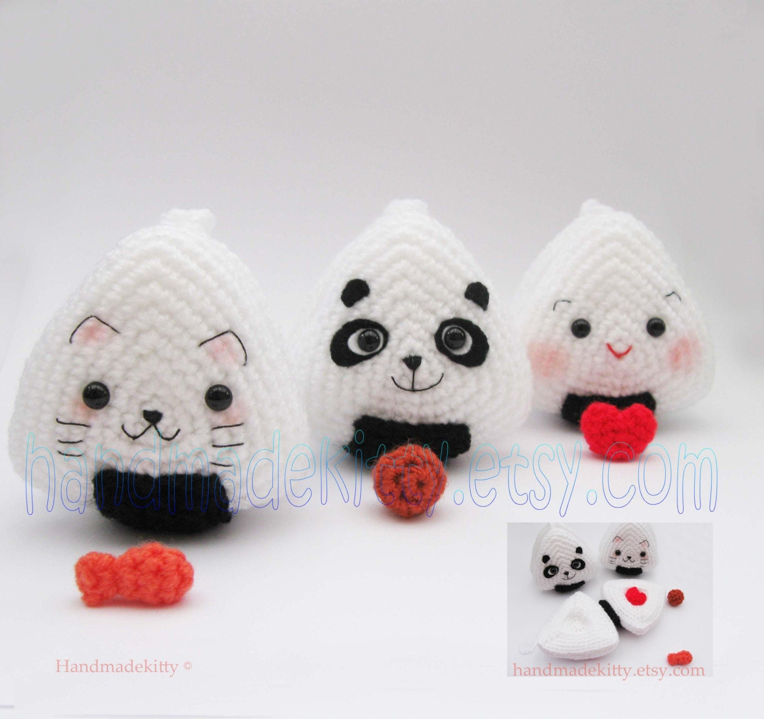 Amigurumi Japanese Patterns Free : HandmadeKitty: Japanese Onigiri Dolls Kitty Panda with ...