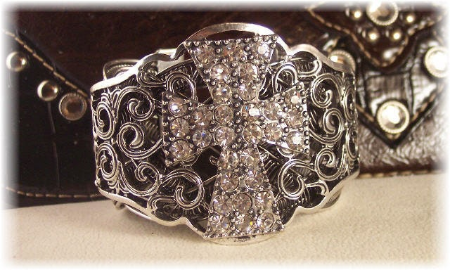 Antique Silver Rhinestone Cross Cuff Filigree Bracelet - Western/Rodeo/Cowgirl Bling