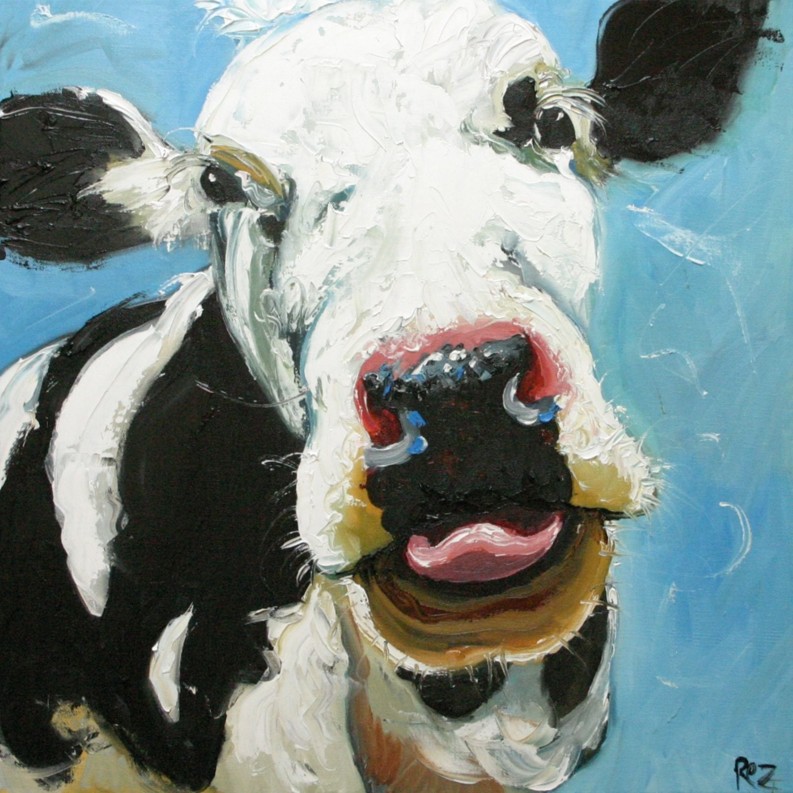 Cow 206 20x20 inch original oil painting by Roz