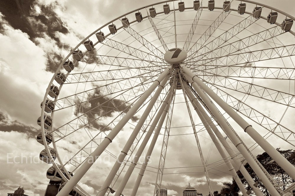 Ferris Wheel Decor, Black and White Photography, 12x18 Wall Print - EchidnaArtandCards
