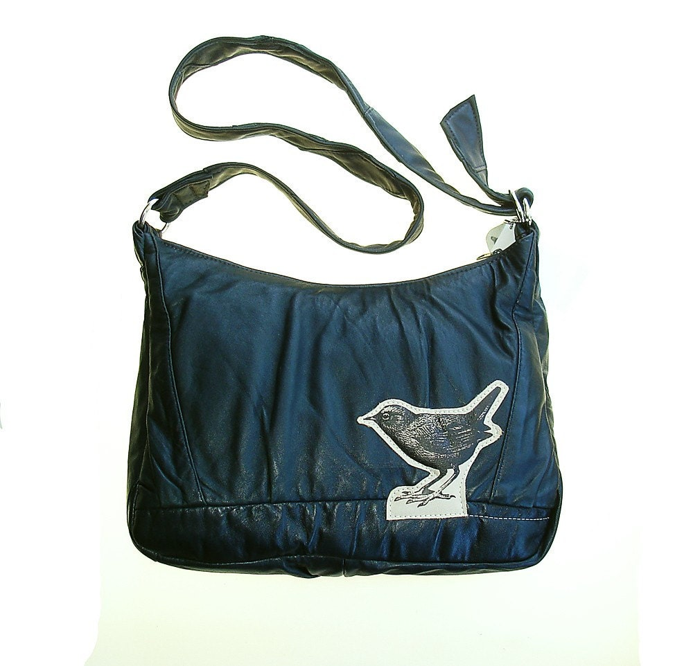 Vintage  Reinvented Dark Dark Blue Leather Bird Bag