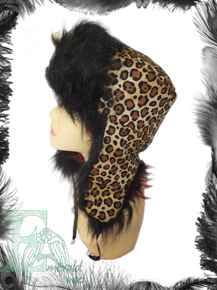 Leopard Print and Fur Trappers Hat Snow Hat Unisex
