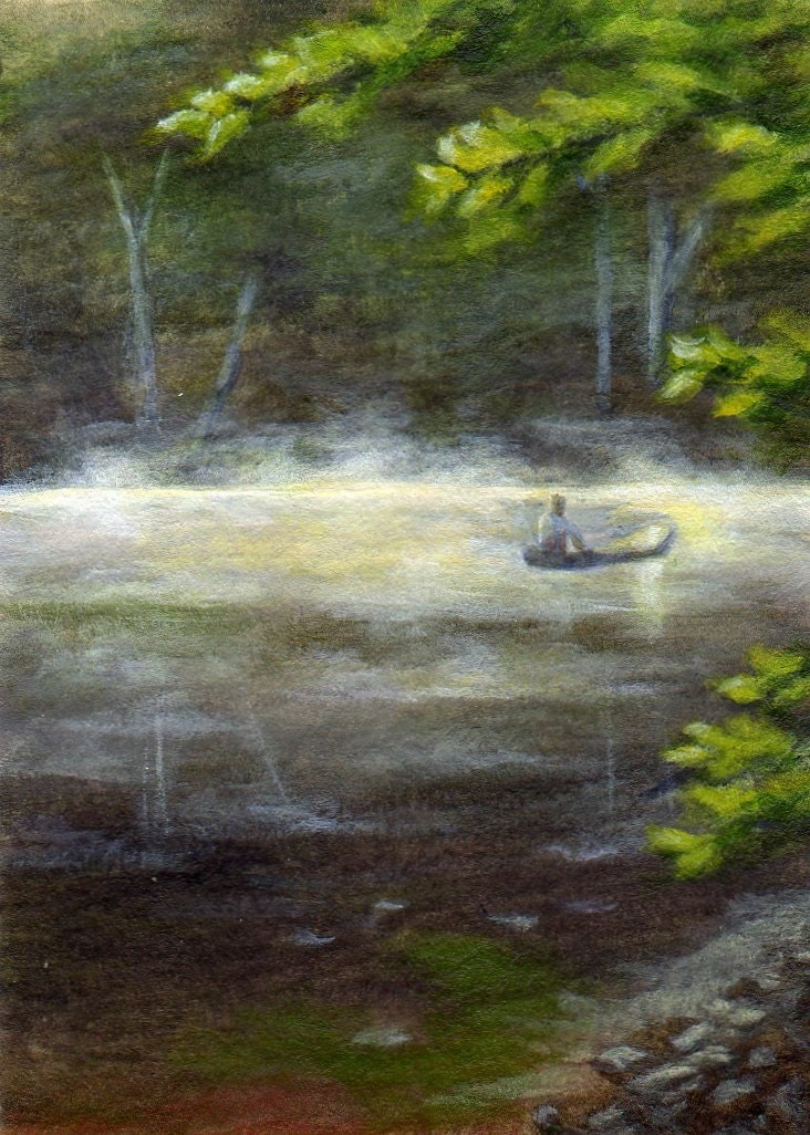 ACEO - Original Acrylic Landscape Painting - Morning Mist