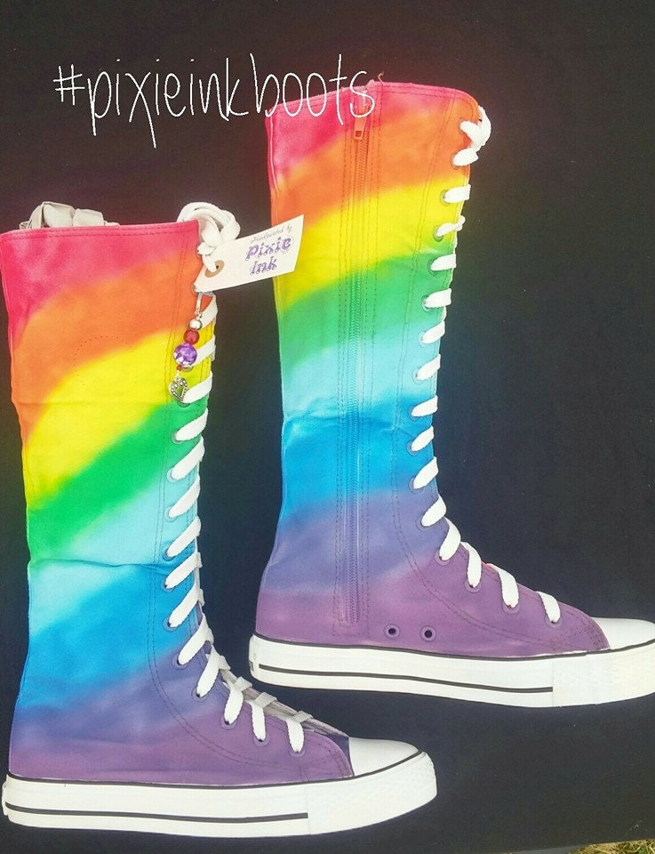 Hand painted Rainbow Knee High unique Converse style canvas boots UK Size 6