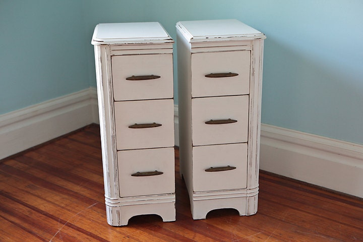 narrow pair nightstand s shabby chic white by