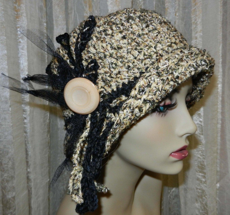 Womens Cloche Hat Crocheted Chenille Yarn Tweed by HatsbyPeach