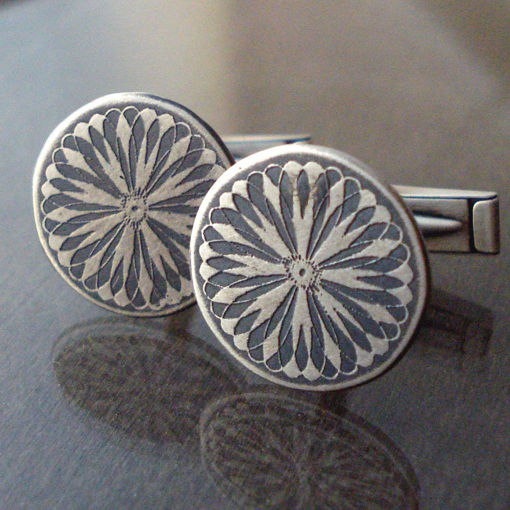 Sterling Silver Spiroburst Cuff Links by lisahopkins on Etsy