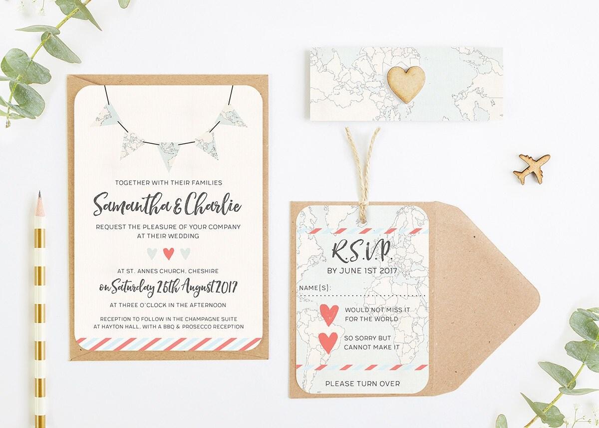 Travel Collection  Map Bunting Wedding Invitation Bundle