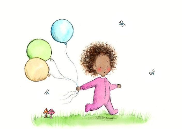 african american baby girl in pink   ruthies balloons   5x7 art print
