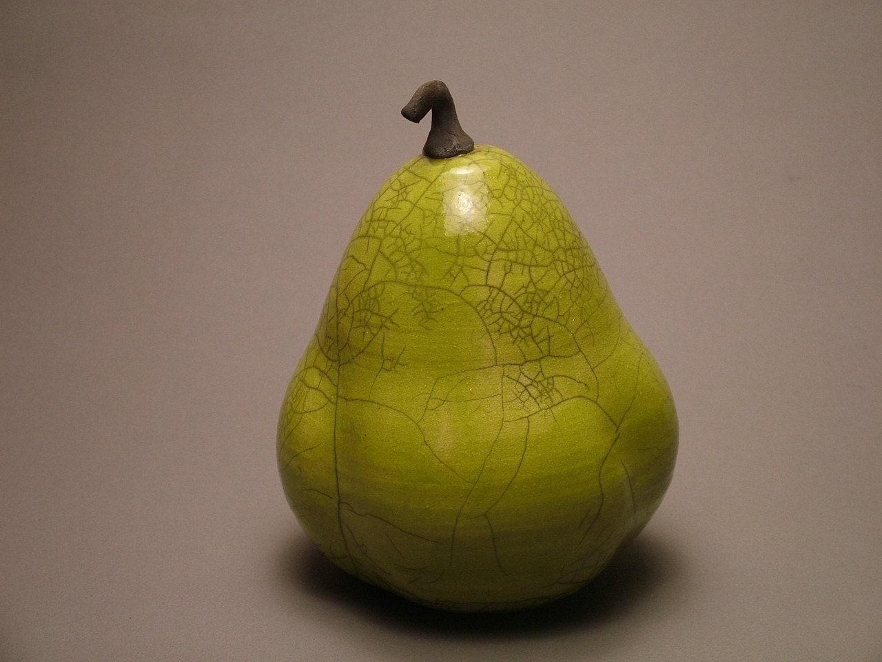 Raku Pear by FryrPottery