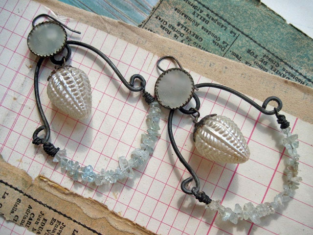 Cast for Madness or Love. Rustic Shabby Chic Altered Assemblage Vintage Gypsy Earrings with Aquamarine.