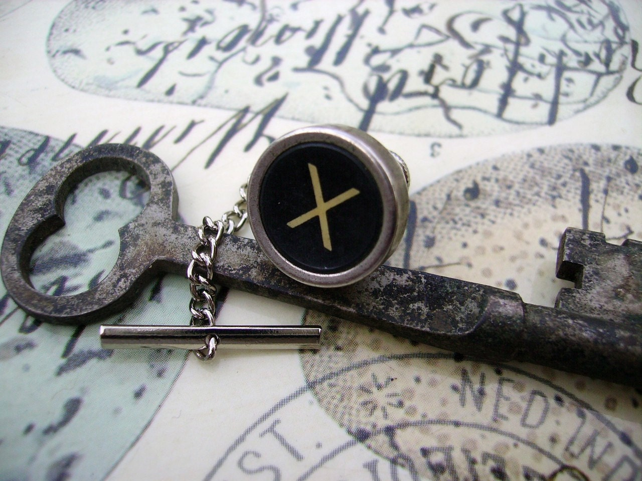 Men's Steampunk Vintage X Marks the Spot Typewriter Key Tie Pin
